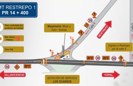 El 9 de julio se presentará paso controlado  en la zona de ingreso a Restrepo