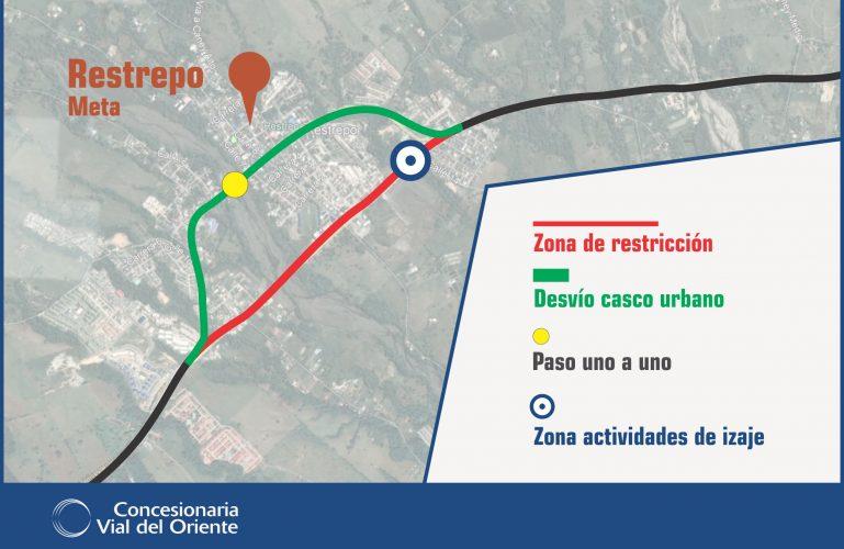 Durante dos noches se restringirá el paso vehicular en la variante de Restrepo