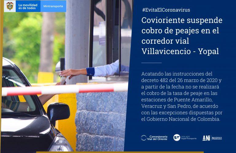 Covioriente suspende cobro de peajes en el corredor vial Villavicencio – Yopal