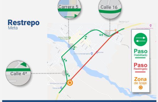 Cierre nocturno para izaje de vigas en intersección de ingreso a Restrepo