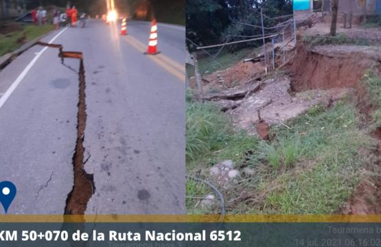 Falla genera desprendimiento de la vía en el sector de Puente Cusiana